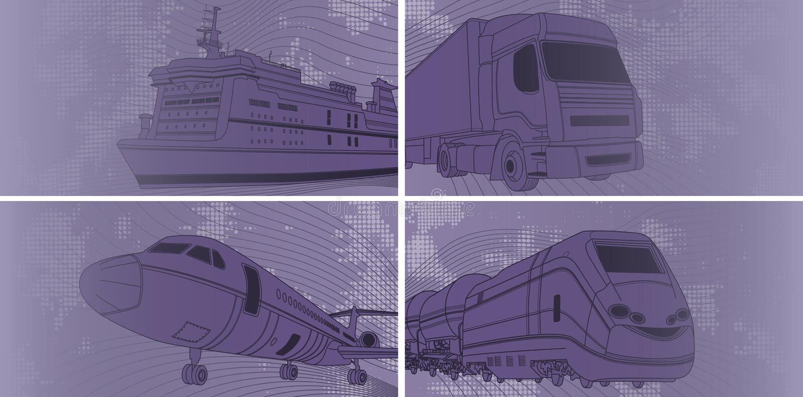 Transport background with airplane, train, truck, liner. Vector illustration of Transport background with airplane, train, truck, liner royalty free illustration