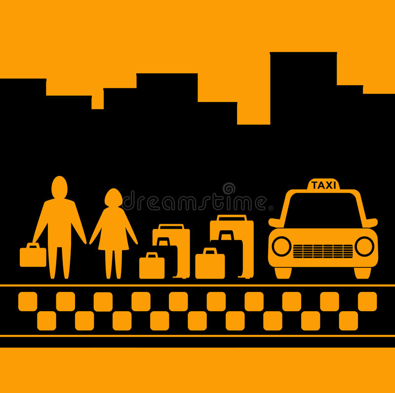 Transport Background With Family, Luggage And Taxi Royalty Free Stock Images
