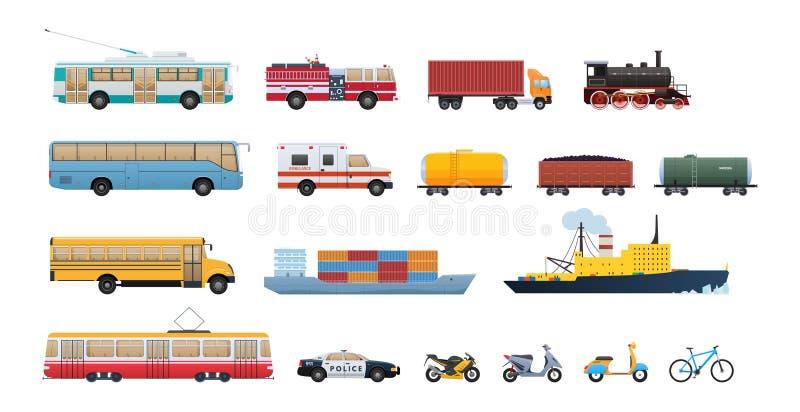 Transport bilar, vattenmedel, drev för järnväg transport, spårvagn, cykel, sparkcykel vektor illustrationer