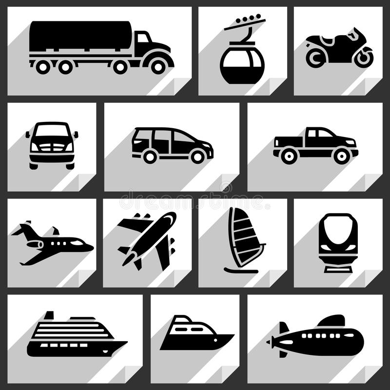 Transport black icons royalty free stock photography