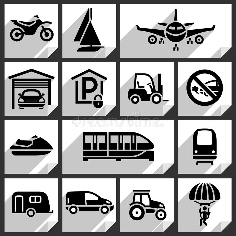 Transport black icons. On white paper stickers-08 vector illustration