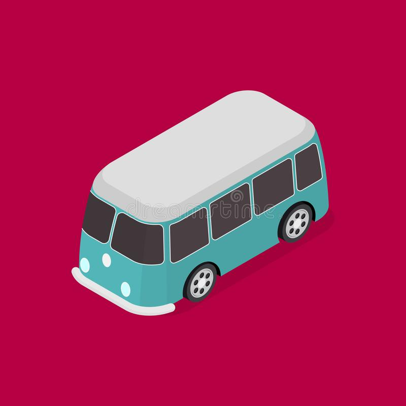 Transport Blue Van 3d Isometric View. Vector vector illustration