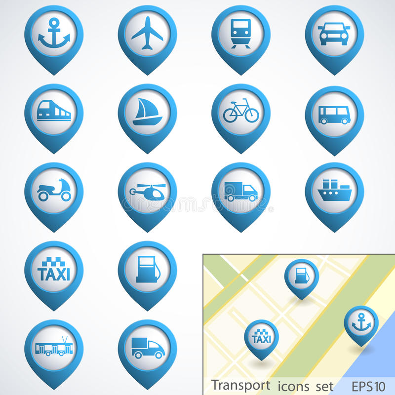 Transport buttons set vector illustration