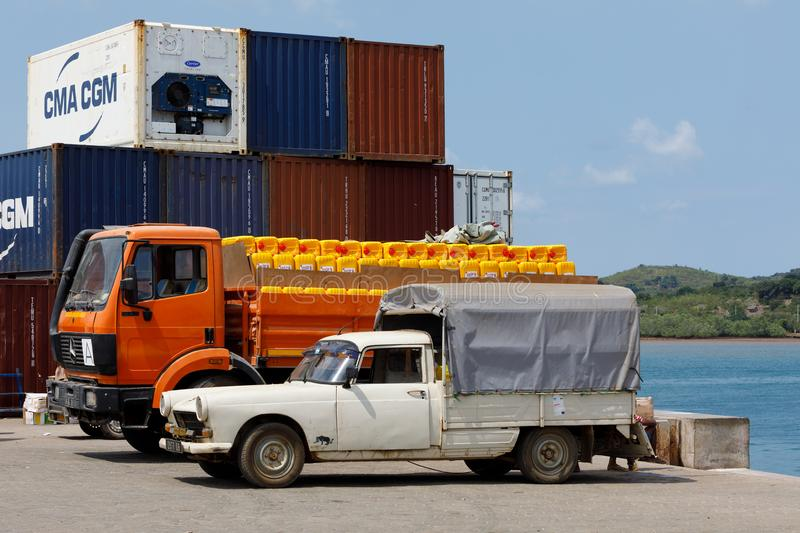 Transport cargo in port of Nosy Be, Madagascar royalty free stock image