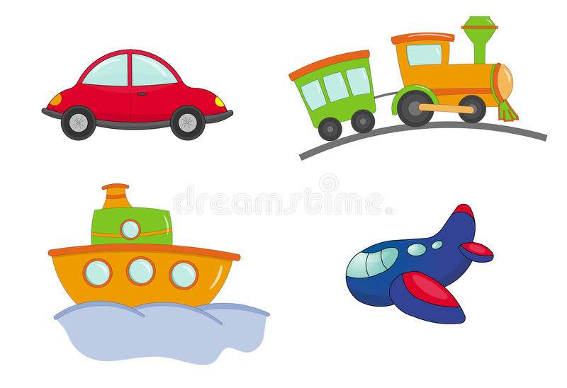 Transport cartoon style. Illustration of different type of transport in cartoon style