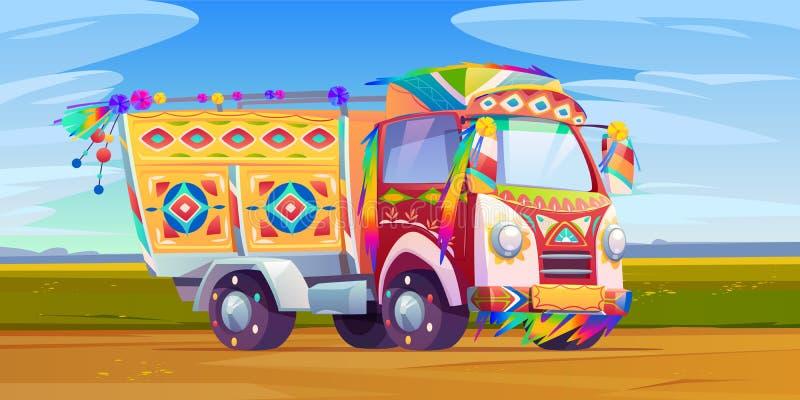 Transport ciężarówek żingle, indyjski lub pakistański ilustracji