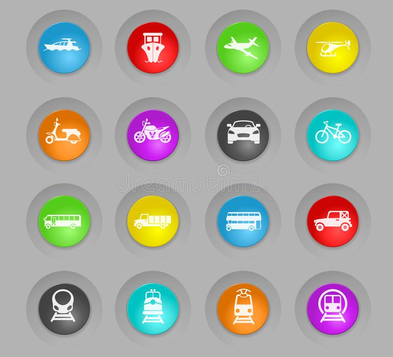 Transport colored plastic round buttons icon set vector illustration