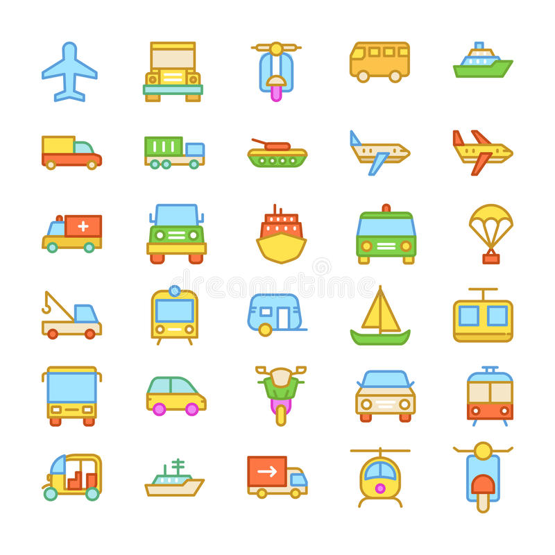 Transport Colored Vector Icons 3. Whether you like to travel by car, bus, train, bicycle, plane, boat or rocket ship, this Transport Vector Icons set is your one vector illustration