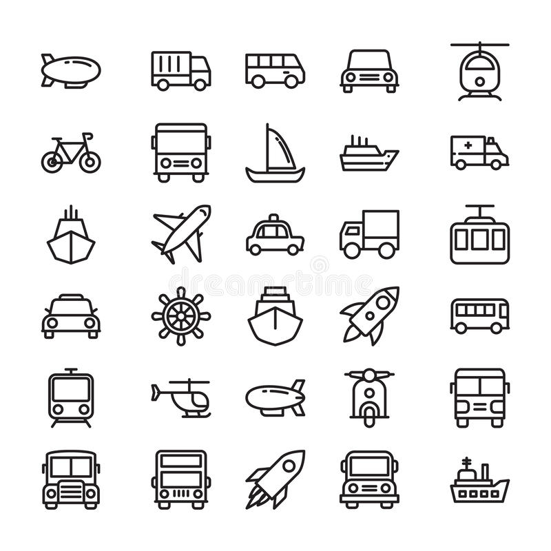 Transport Colored Vector Icons 4. Whether you like to travel by car, bus, train, bicycle, plane, boat or rocket ship, this Transport Vector Icons set is your one stock illustration