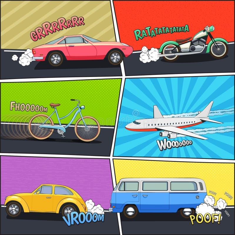 Transport Comic Frames Set stock vector. Illustration of moving ...