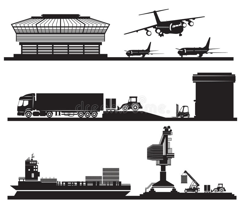 Transport concept, loading of containers in warehouse, airport,. Vector Transport concept, loading of containers in warehouse, airport, port and transportation stock illustration