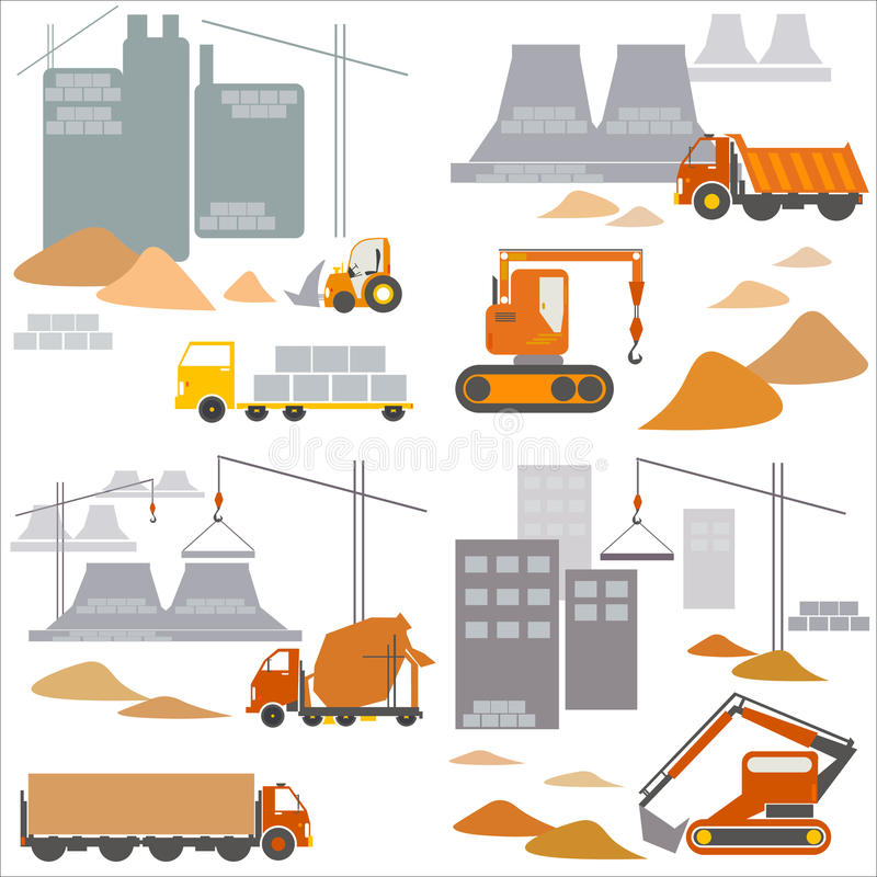Transport and construction, construction site, vector set. Transport and construction, construction site, vector illustration vector illustration