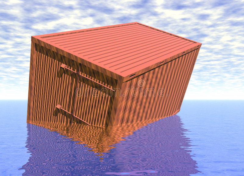 Transport Container Box Sinking in Water. 3d Orange Transport Container Box Sinking in Blue Water royalty free illustration