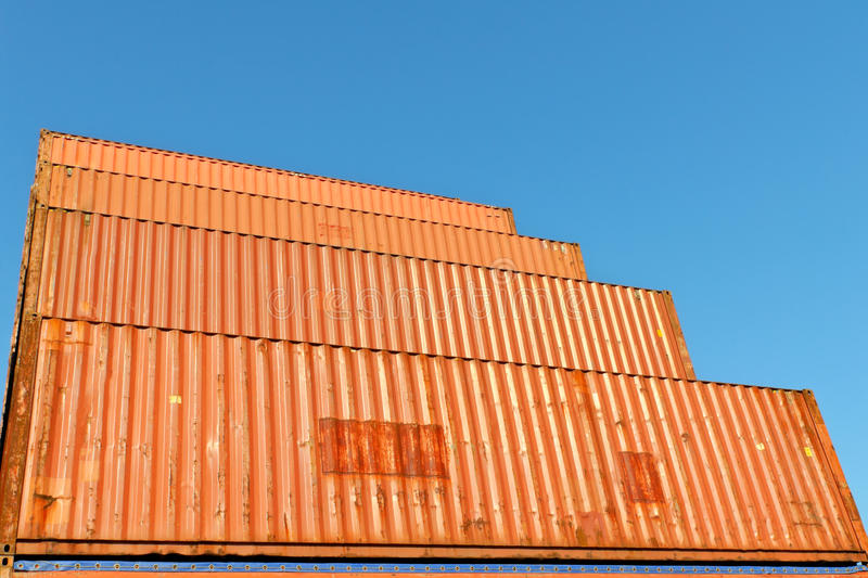 Transport containers at warehouse. Orange transport containers at warehouse stock image