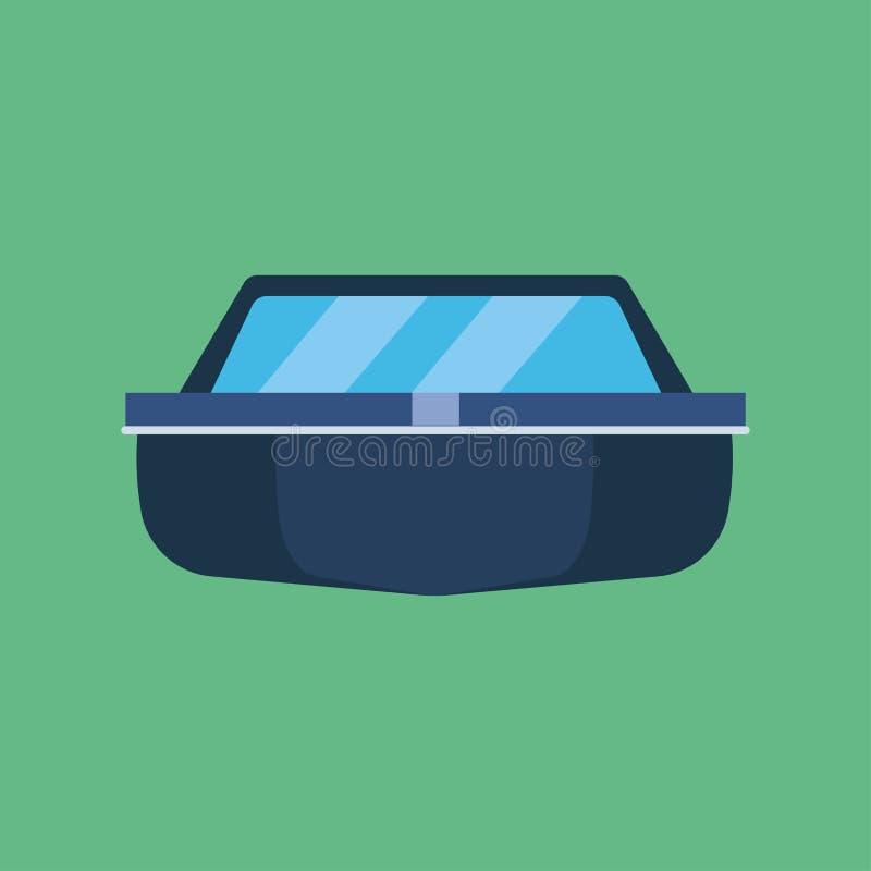Transport d'icône de vecteur de vue de face de bateau de pêche Rivière maritime industrielle de navire de navigation de symbole d illustration stock