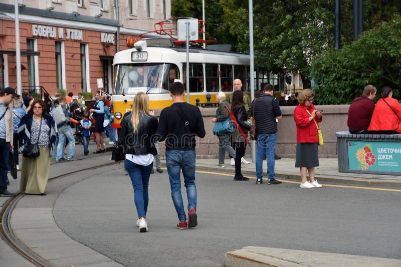 Transport Day-2019 de Moscou Les tramways défilent images stock