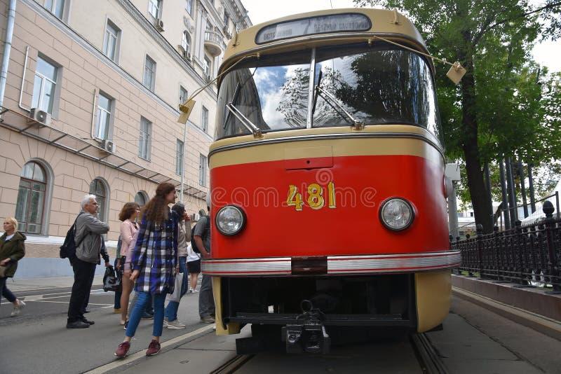 Transport Day-2019 de Moscou Les tramways défilent image libre de droits