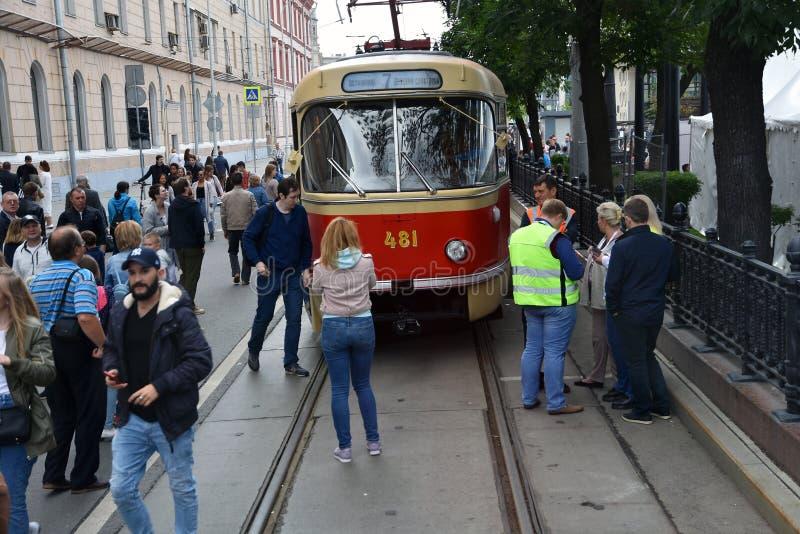 Transport Day-2019 de Moscou Les tramways défilent images libres de droits