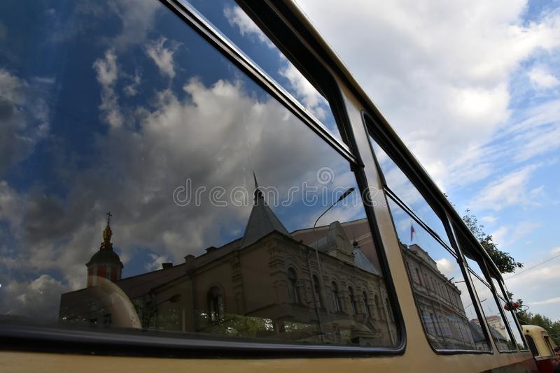 Transport Day-2019 de Moscou Les tramways défilent photos stock
