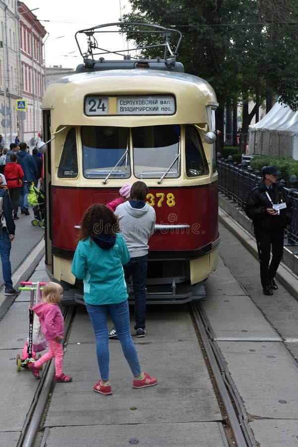 Transport Day-2019 de Moscou Les tramways défilent photographie stock