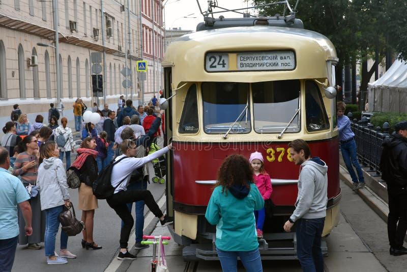 Transport Day-2019 de Moscou Les tramways défilent photo stock