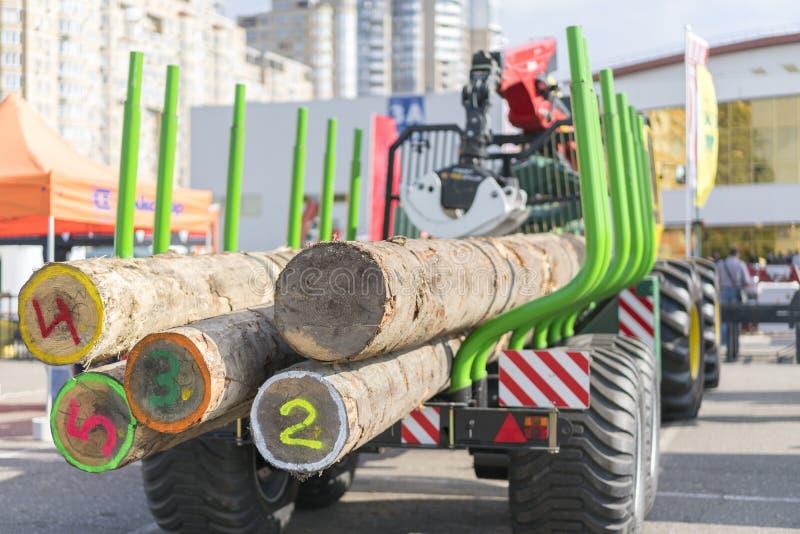 Transport de camion d'astuce de bois de construction scié Le camion transporte des rondins, sur la route Des rondins de coupe son photos libres de droits