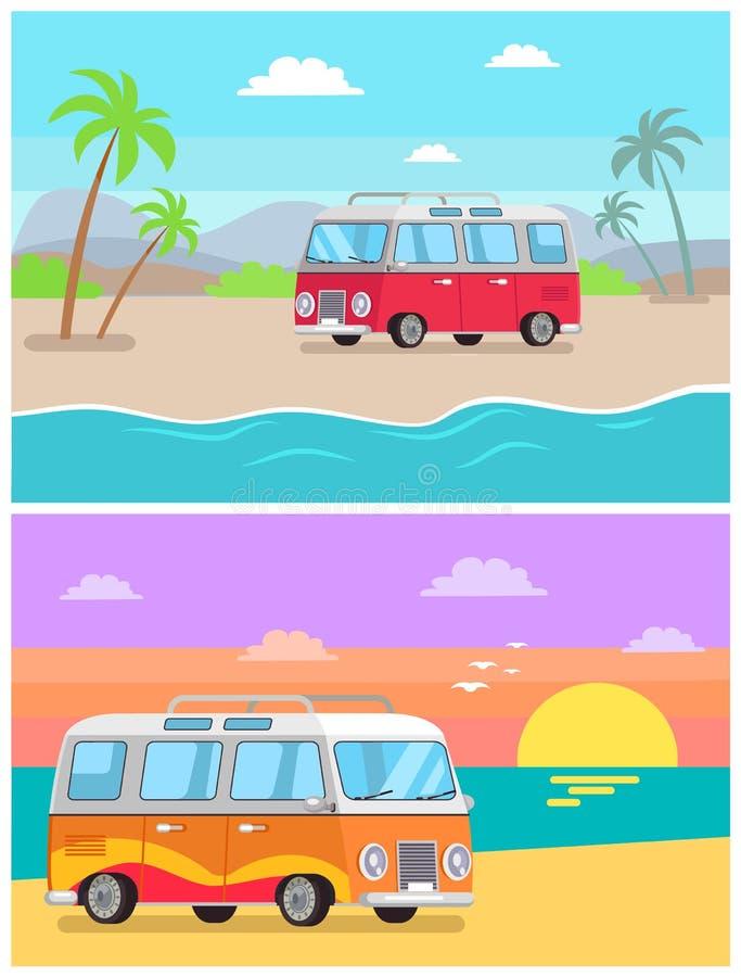 Transport de remorque au bord de la mer, collection d'images illustration de vecteur