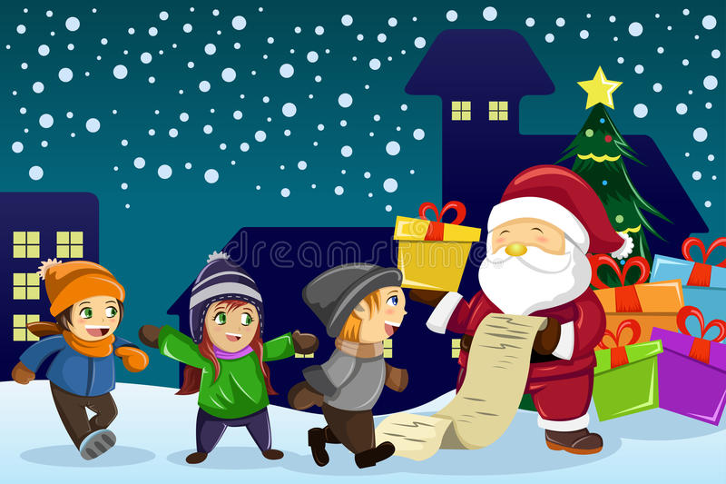 Transport de Santa Claus actuel et tenir une liste de noms avec les enfants a illustration de vecteur