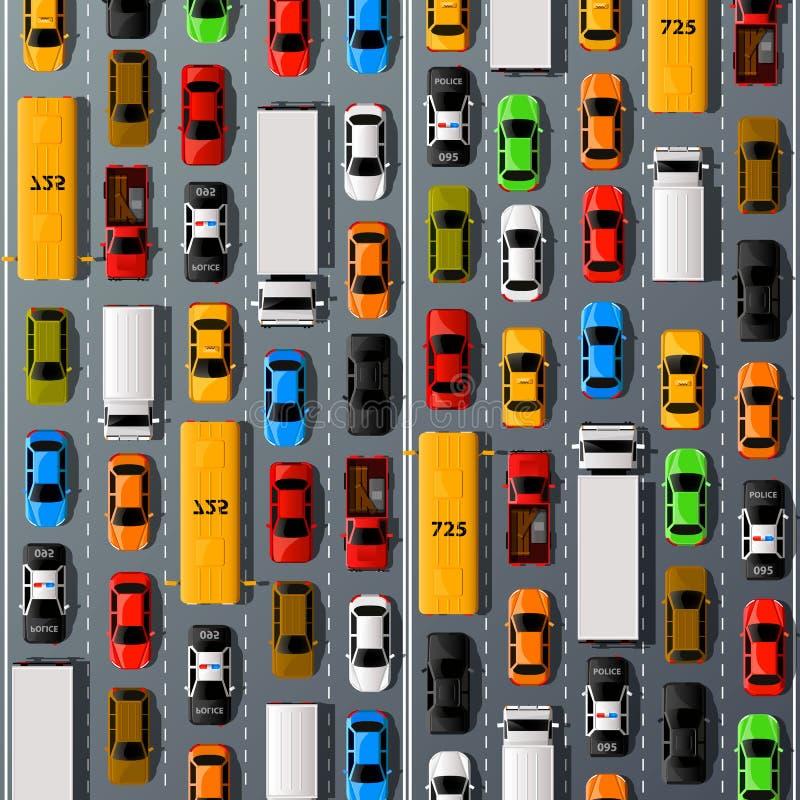 Transport de voitures de route, fond d'embouteillage illustration stock
