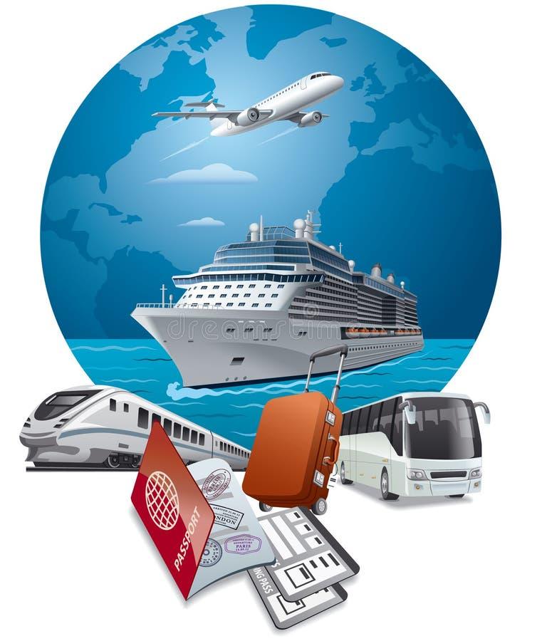 Transport de voyage et de voyage illustration stock