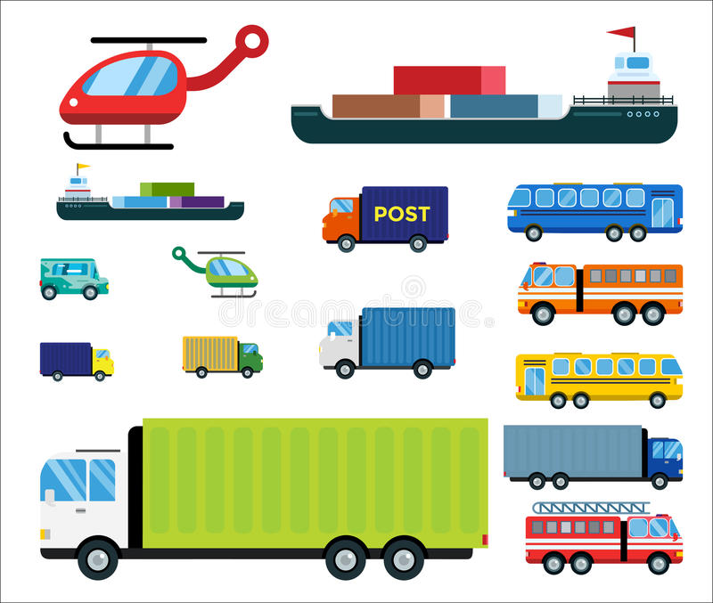 Transport delivery vector isolated white transportation car bus van fire truck helicopter ship silhouette icon tanker royalty free illustration