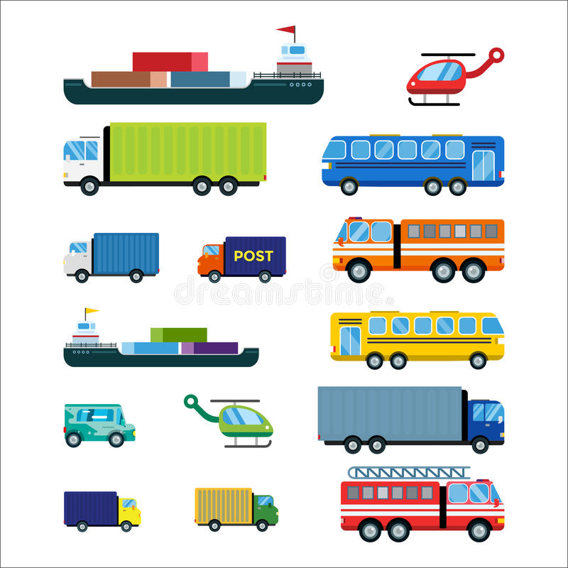 Transport delivery vector isolated white transportation car bus van fire truck helicopter ship silhouette icon tanker stock illustration