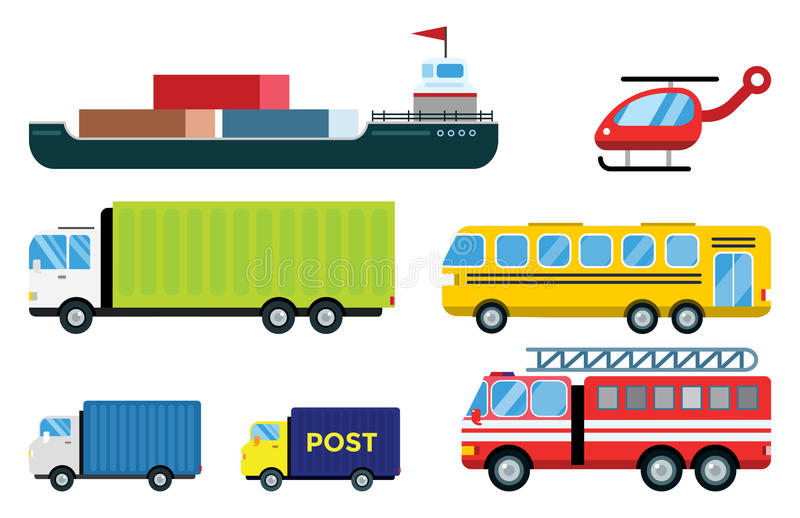 Transport delivery vector isolated white transportation car bus van fire truck helicopter ship silhouette icon tanker vector illustration