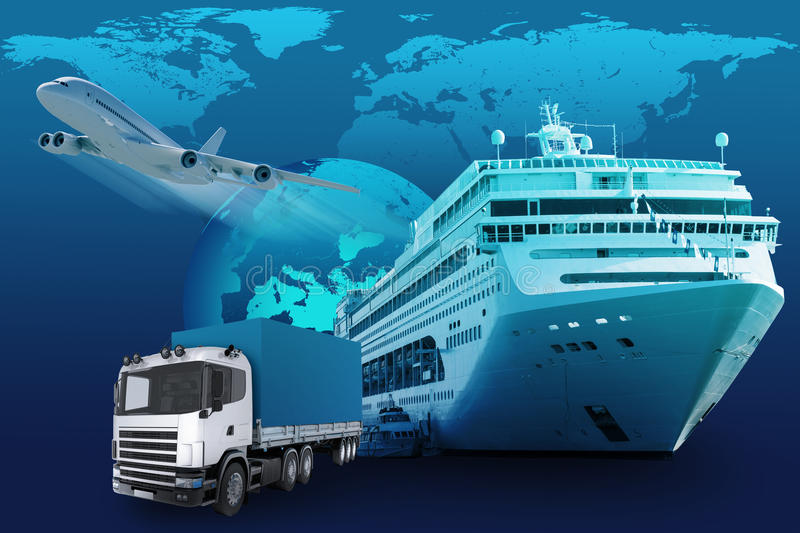 Transport with earth globe and world map. On blue background royalty free stock photography