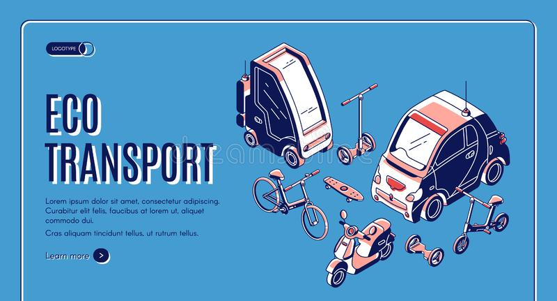 Transport ekologiczny: energia przyjazna dla lÄ…dowania izometrycznego royalty ilustracja