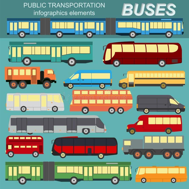 Transport en commun, autobus Placez l'infographics d'éléments illustration stock