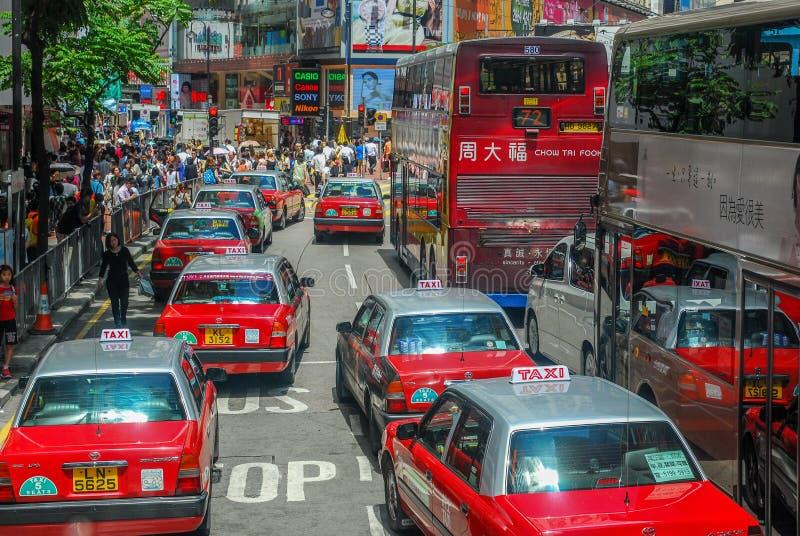 Transport en commun dans la rue de Hong Kong images libres de droits