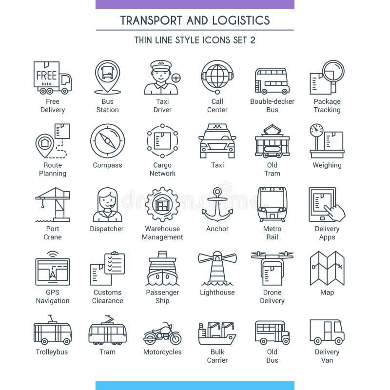 Transport et ligne logistique icônes 02 illustration de vecteur