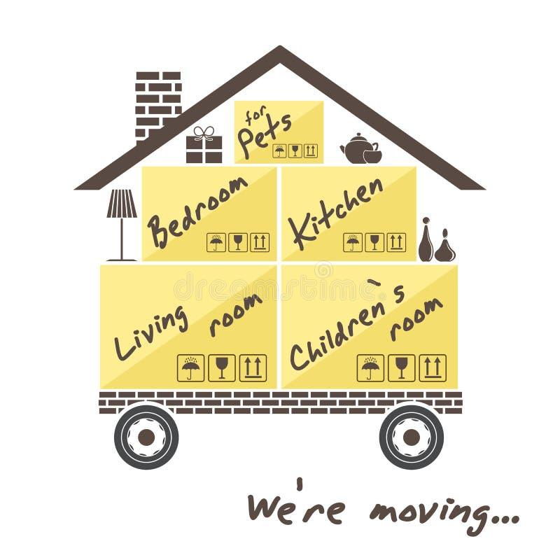 Transport et retrait à la maison Maison stylisée sur des roues avec des boîtes pour le déplacement We& x27 ; déplacement re illustration libre de droits