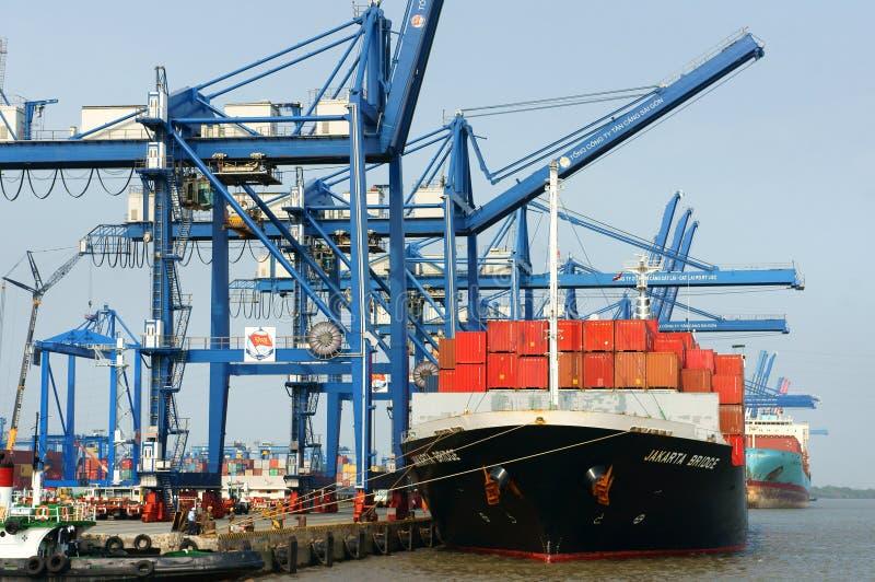 Transport, Export, Import, Ho Chi Minh-Hafen lizenzfreies stockfoto