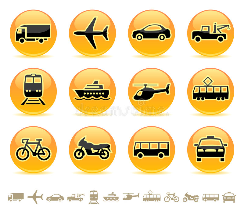 transport för 3 knappsymboler vektor illustrationer