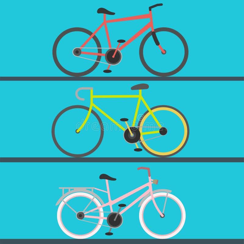 Transport för cykel för ridning för vektor för ritt för cykel för tappning retro och för pedal för lägenhet för grunge för mode f vektor illustrationer