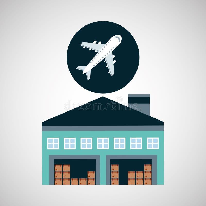 Transport för lagerbyggnadsflygplan vektor illustrationer