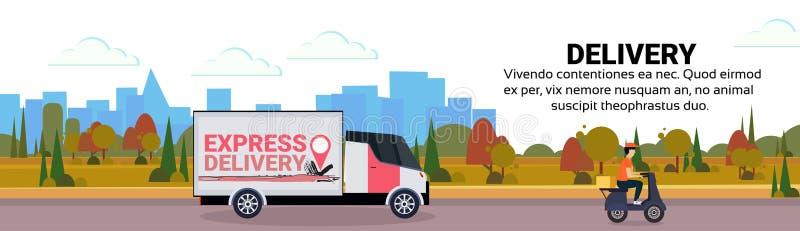 Transport för leverans för lastminivanmotorcykel som sänder den industriella lägenheten för bakgrund för landskap för huvudvägbeg royaltyfri illustrationer
