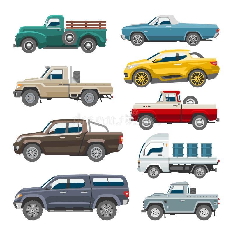 Transport för leveransen för uppsamlingsbilvektorn väljer auto upp det offroad bilmedlet eller lastbilen och modellen isolerat ci vektor illustrationer