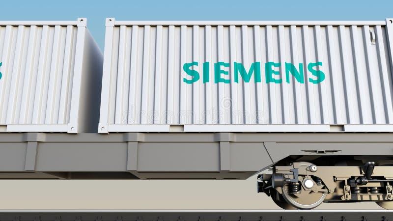 Transport ferroviaire des récipients avec le logo de Siemens Rendu 3D éditorial illustration de vecteur