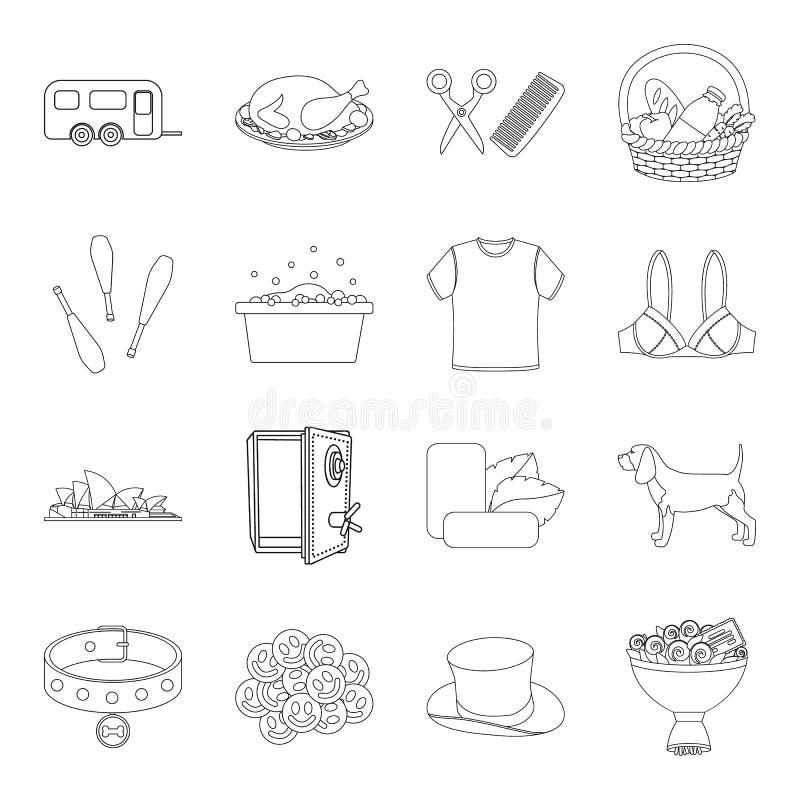 Transport, finans, tandläkekonst och annan rengöringsduksymbol i översikt utformar medicin underhåll, rengörande symboler i uppsä royaltyfri illustrationer