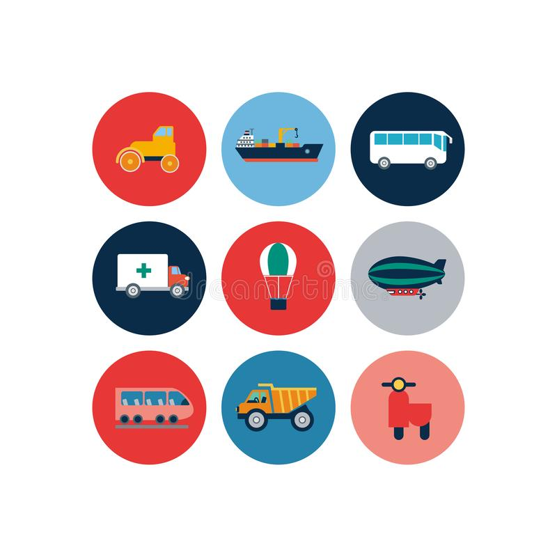 Transport flat icons. Cars and public transport vector flat illustration royalty free illustration