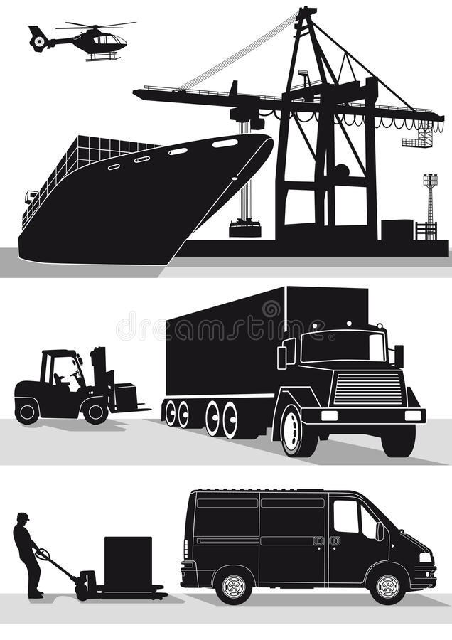 Transport and freight icons. Silhouetted set of transport and freight forwarding icons isolated on a white background vector illustration