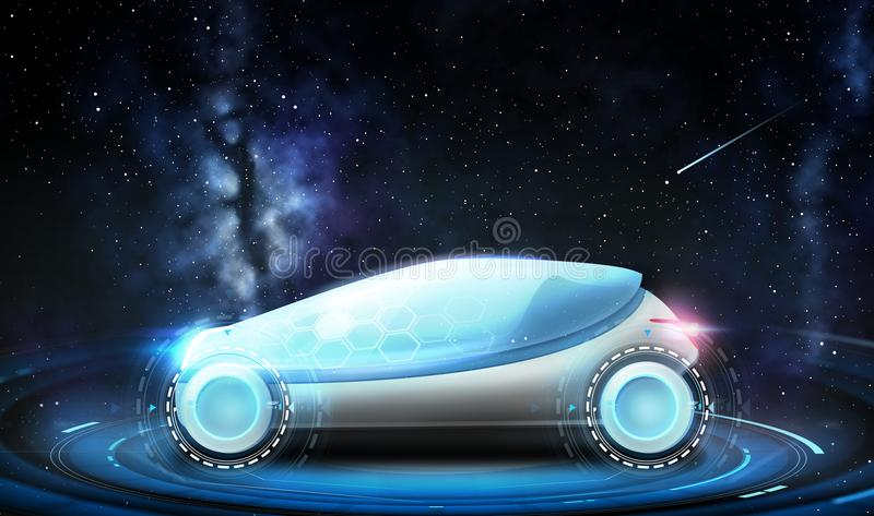 Futuristic concept car over space background. Transport and future technology - futuristic concept car over space background vector illustration